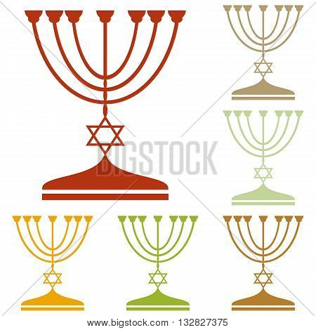 Jewish Menorah candlestick in black silhouette. Colorful autumn set of icons.