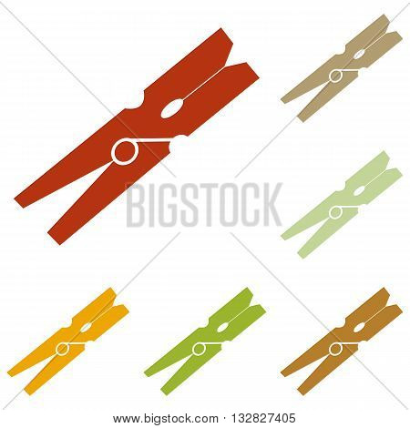 Clothes peg sign. Colorful autumn set of icons.