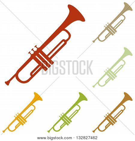 Musical instrument Trumpet sign. Colorful autumn set of icons.
