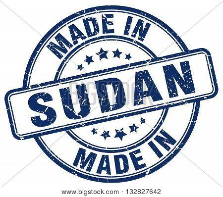 made in Sudan blue round vintage stamp.Sudan stamp.Sudan seal.Sudan tag.Sudan.Sudan sign.Sudan.Sudan label.stamp.made.in.made in.