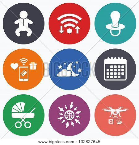 Wifi, mobile payments and drones icons. Moon and stars symbol. Baby infants icon. Buggy and dummy signs. Child pacifier and pram stroller. Calendar symbol.