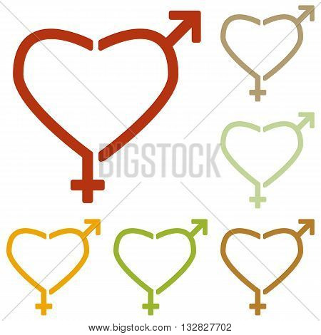 Gender signs in heart shape. Colorful autumn set of icons.