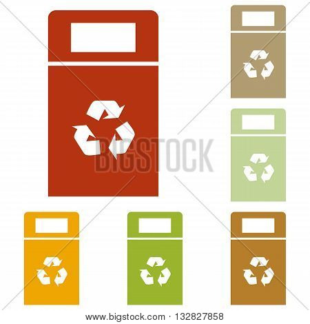 Trashcan sign illustration. Colorful autumn set of icons.