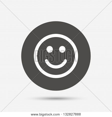 Smile icon. Happy face chat symbol. Gray circle button with icon. Vector