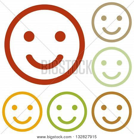 Smiley sign illustration. Colorful autumn set of icons.