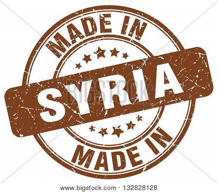 made in Syria brown round vintage stamp.Syria stamp.Syria seal.Syria tag.Syria.Syria sign.Syria.Syria label.stamp.made.in.made in.