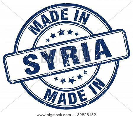 made in Syria blue round vintage stamp.Syria stamp.Syria seal.Syria tag.Syria.Syria sign.Syria.Syria label.stamp.made.in.made in.