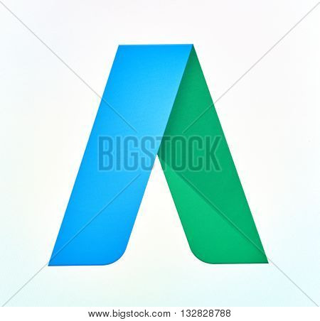 MONTREAL CANADA - MAY 23 2016 : Google AdWords logo on a cellphone. AdWords is an advertising service by Google for businesses wanting to display ads on Google