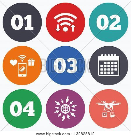 Wifi, mobile payments and drones icons. Step one, two, three and four icons. Sequence of options symbols. Loading process signs. Calendar symbol.