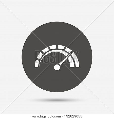 Tachometer sign icon. Revolution-counter symbol. Car speedometer performance. Gray circle button with icon. Vector