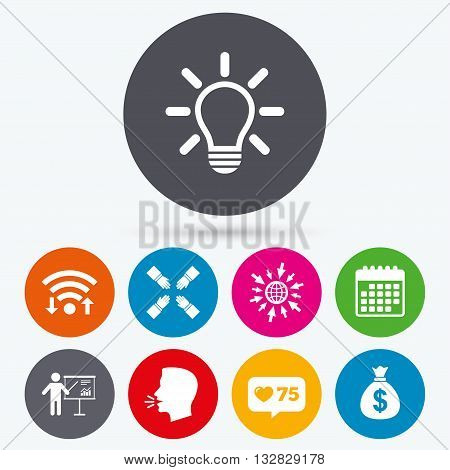 Wifi, like counter and calendar icons. Presentation billboard icon. Dollar cash money and lamp idea signs. Man standing with pointer. Teamwork symbol. Human talk, go to web.