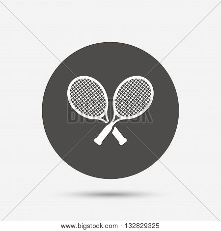 Tennis rackets sign icon. Sport symbol. Gray circle button with icon. Vector
