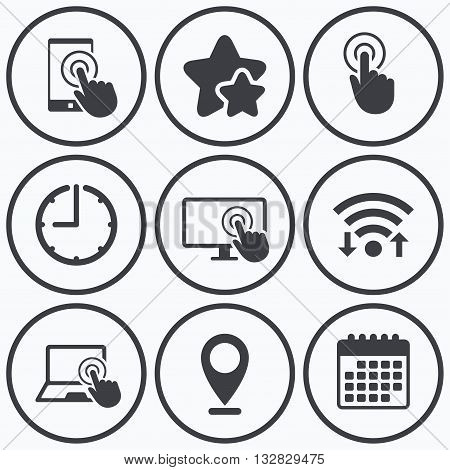 Clock, wifi and stars icons. Touch screen smartphone icons. Hand pointer symbols. Notebook or Laptop pc sign. Calendar symbol.