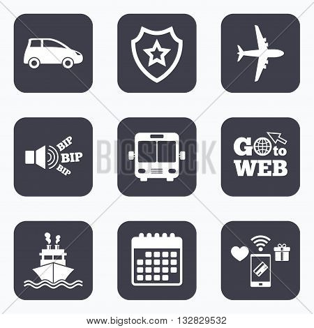 Mobile payments, wifi and calendar icons. Transport icons. Car, Airplane, Public bus and Ship signs. Shipping delivery symbol. Air mail delivery sign. Go to web symbol.
