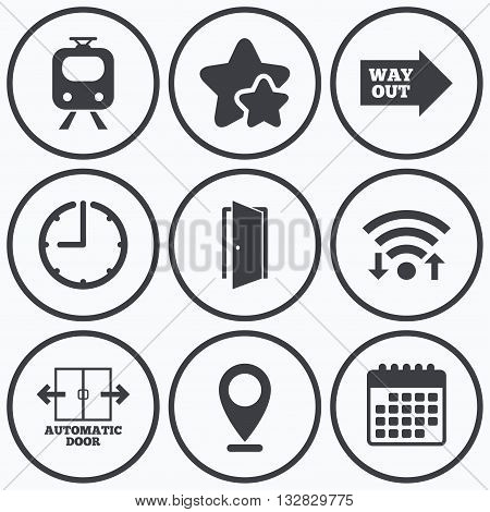 Clock, wifi and stars icons. Train railway icon. Automatic door symbol. Way out arrow sign. Calendar symbol.