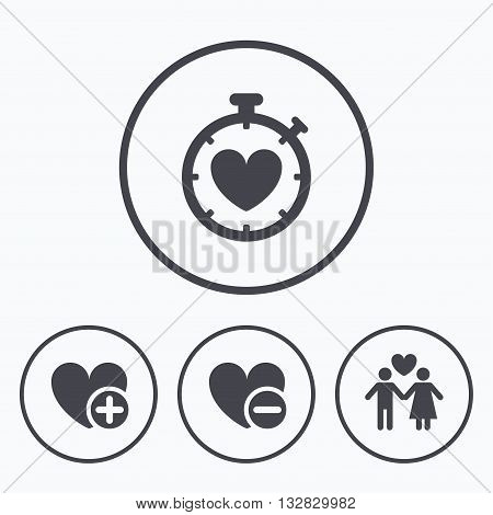 Valentine day love icons. Love heart timer symbol. Couple lovers sign. Add new love relationship. Icons in circles.