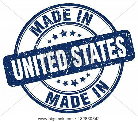 made in United States blue round vintage stamp.United States stamp.United States seal.United States tag.United States.United States sign.United.States.United States label.stamp.made.in.made in.
