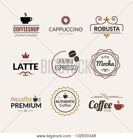 Retro Vintage Coffee Labels Logo design vector typography lettering inspiration templates. Retro elements, business signs, badges, logos, label, stamps and symbols.
