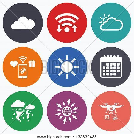 Wifi, mobile payments and drones icons. Weather icons. Cloud and sun signs. Storm or thunderstorm with lightning symbol. Gale hurricane. Calendar symbol.