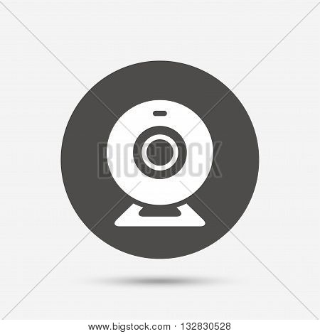 Webcam sign icon. Web video chat symbol. Camera chat. Gray circle button with icon. Vector