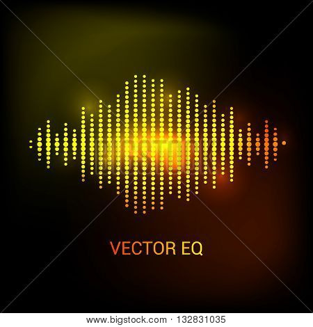 Single colorful eq, equalizer. Vector sound audio wave, frequency, melody, soundtrack in night for dance electronic disco music. Sound wave eq. Audio wave