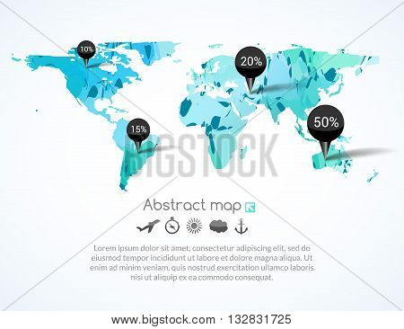Vector blue triangle world map with tags, points and destinations with icons airplane, sun, cloud, anchor, compass, travel concept.