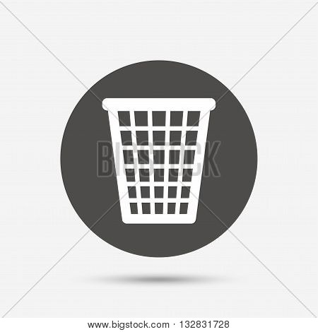 Recycle bin sign icon. Bin symbol. Gray circle button with icon. Vector