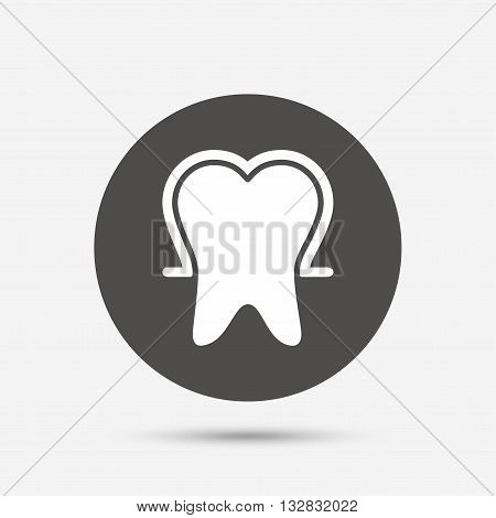 Tooth enamel protection sign icon. Dental toothpaste care symbol. Healthy teeth. Gray circle button with icon. Vector