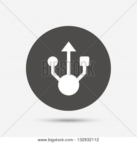 Usb sign icon. Usb flash drive symbol. Gray circle button with icon. Vector