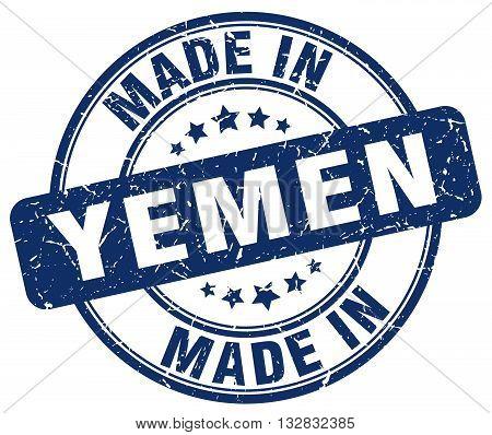 made in Yemen blue round vintage stamp.Yemen stamp.Yemen seal.Yemen tag.Yemen.Yemen sign.Yemen.Yemen label.stamp.made.in.made in.