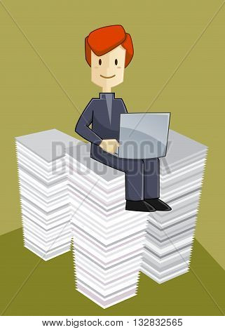Vector stock of a businessman sitting on top of paperwork pile working with laptop