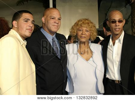 Alexandria Robinson, Ray Charles, Ray Charles Robinson Jr. and Rev. Robert Robinson at the Los Angeles premiere of 'Ray' held at the Cinerama Dome in Hollywood, USA on October 19, 2004.