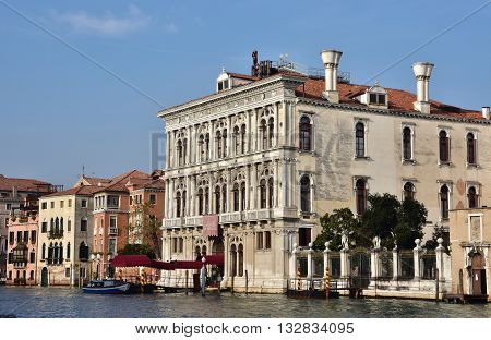 VENICE, ITALY - NOVEMBER 30: Venice old Casino beautiful renaissance facade on Grand Canal NOVEMBER 30, 2015 in Venice, Italy