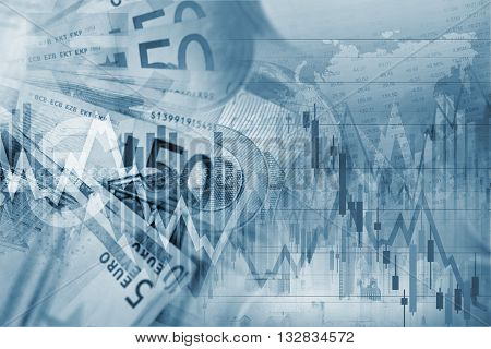 Forex Trading Blue Concept Background Illustration with Forex Graph Stats.