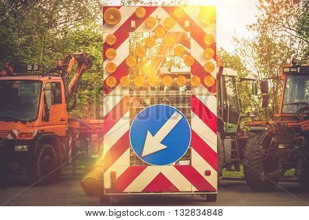 Road Construction Equipment Ready To Use. Construction Safety Signs and Vehicles. Highway Construction.