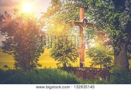Small Wayside Shrine in the Lesser Poland. Crucifix Shrine. Poland Europe.