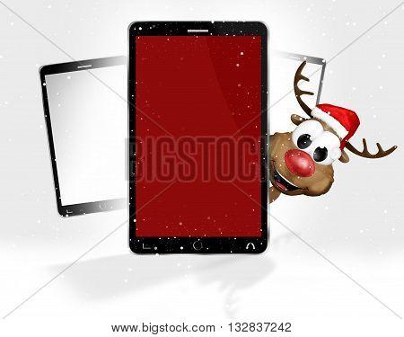 phone reindeer 3d graphic illustration image design