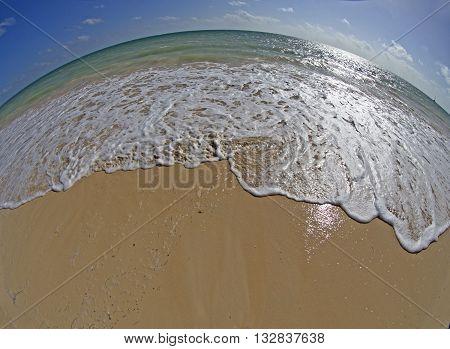 Caribbean seascape taken with fish eye lens