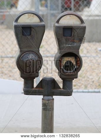 Abandoned old parking meters in New York