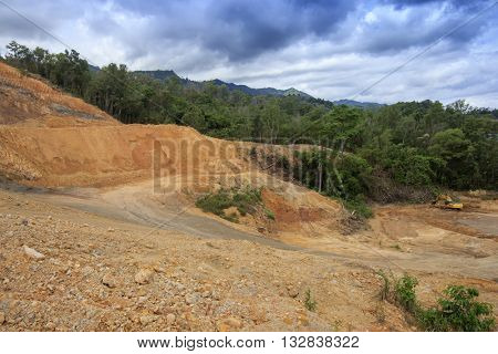 Deforestation environmental destruction Borneo rain forest cleared for construction