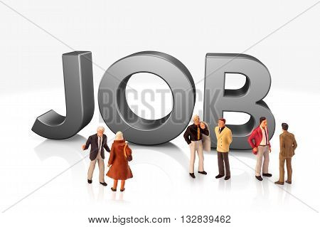 miniature people  - people standing in front of the 3D word job,