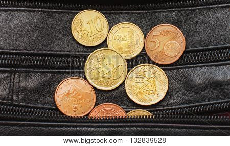 Euro Cents A Black Purse, Currency, Money, Small