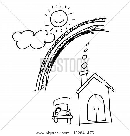 freehand sketch illustration of sweet home with car cloud sun rainbow chimney doodle hand drawn in kid style