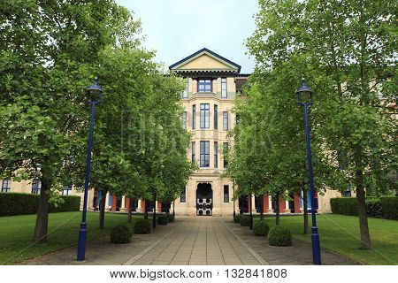 CAMBRIDGE, UK - JUNE 14, 2014: University campus at Cambridge on June 14, 2014 in Cambridge, UK. It is a landmark university in England.