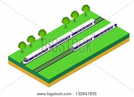 Fast Train. Vector isometric illustration of a Fast Train. Vehicles designed to carry large numbers of passengers. Isolated vector of modern high speed train.