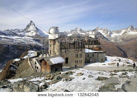 ZERMATT, SWITZERLAND- Nov 14, 2015: Gornergrat viewpoint on Matterhorn mountain on Nov 14, 2015 in Zermatt , Switzerland. It is one of the most popular mountain resorts in Switzerland.