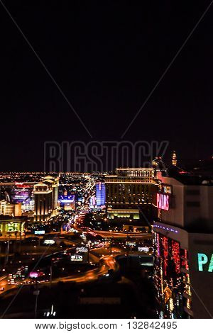 MAY 30, 2016 LAS VEGAS, NV -- View from The Palms Casino and Resort of The Strip at night -- MAY 30, 2016 LAS VEGAS, NV