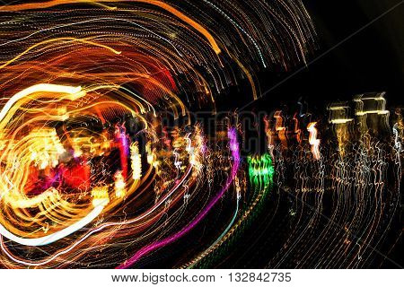 MAY 30, 2016 LAS VEGAS, NV -- Camera light streaks from The Palms Casino Resort and Hotel -- LAS VEGAS, NV