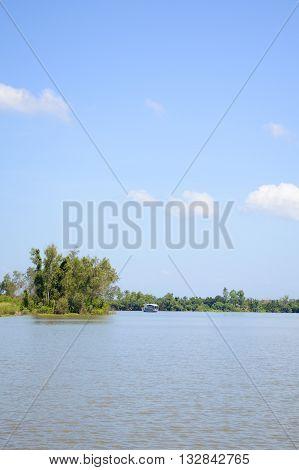 Bangprakong river in nature country chachoengsao thailand