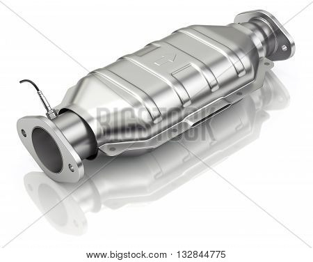 Catalytic converter with sensor flue gas (lambda sensor) on white background - 3D illustration